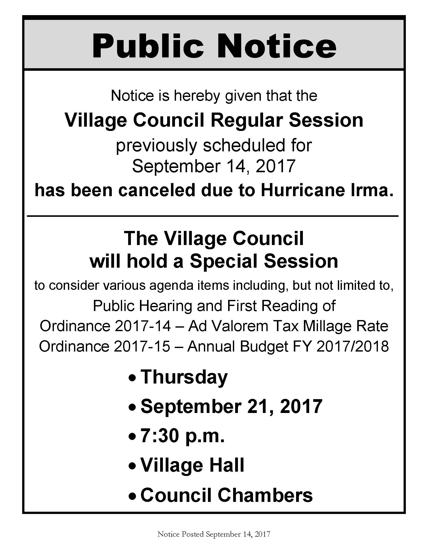 09-21-2017 Rescheduled Council Meeting