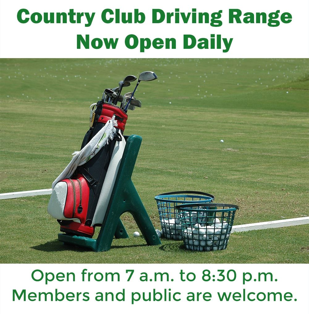 Picture of a golf bag and two baskets of golf balls with text announcing opening of driving range.