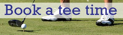 Photo of golf ball on tee, golfer's feet with text saying Book a tee time