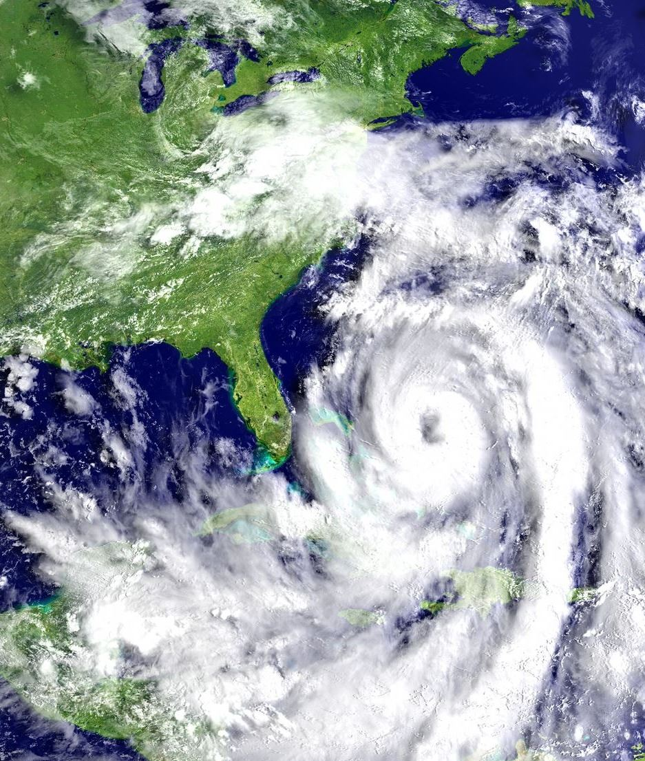 Satellite photo of Hurricane Matthew approaching east coast of United States.