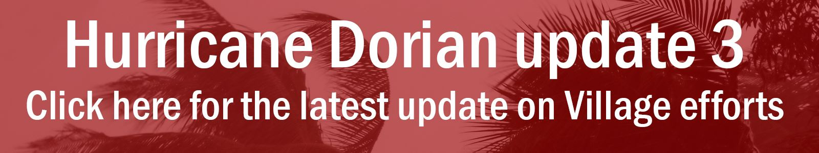 Blowing trees with text saying Hurricane Dorian update 3 - click here for latest update on Village e