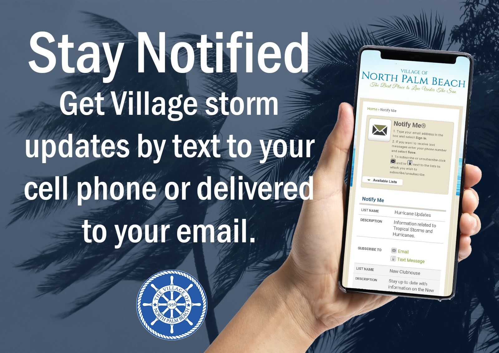 "Cell phone ""Get storm updates by text to your cell phone at Prepare The Village Dot Com"