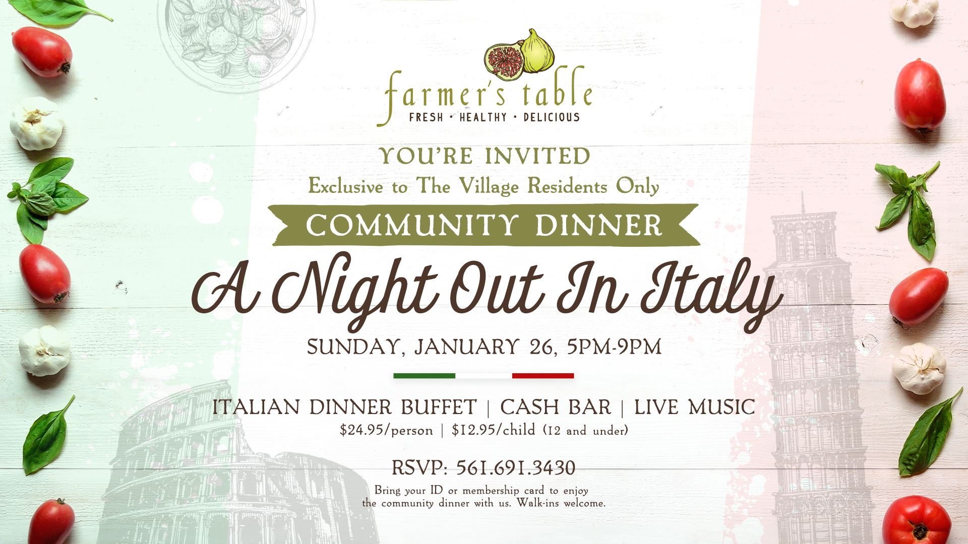 Farmer's Table ad announcing Italian Night Dinner for $24.95 on January 26