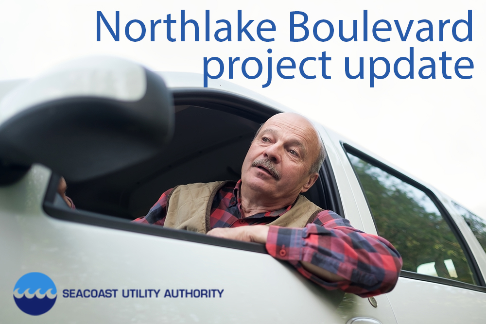 Man in car, looking out window. Text says SUA Northlake Boulevard project