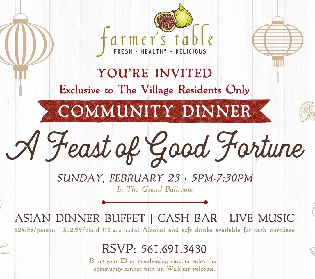 Farmer's Table Community Dinner Sunday February 23. Asian theme. 5 to 7:30 p.m. 23.95 dollars for