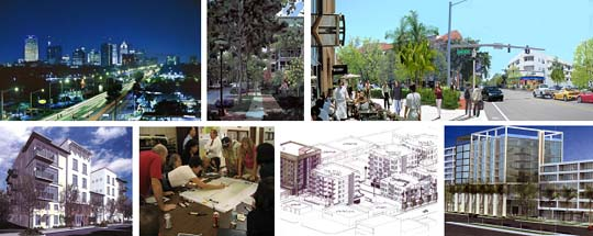 Photo collage of buildings, streets and planning session