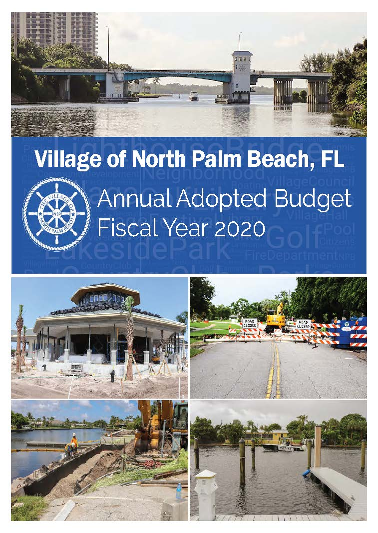 2020 BUDGET cover with photos of construction projects