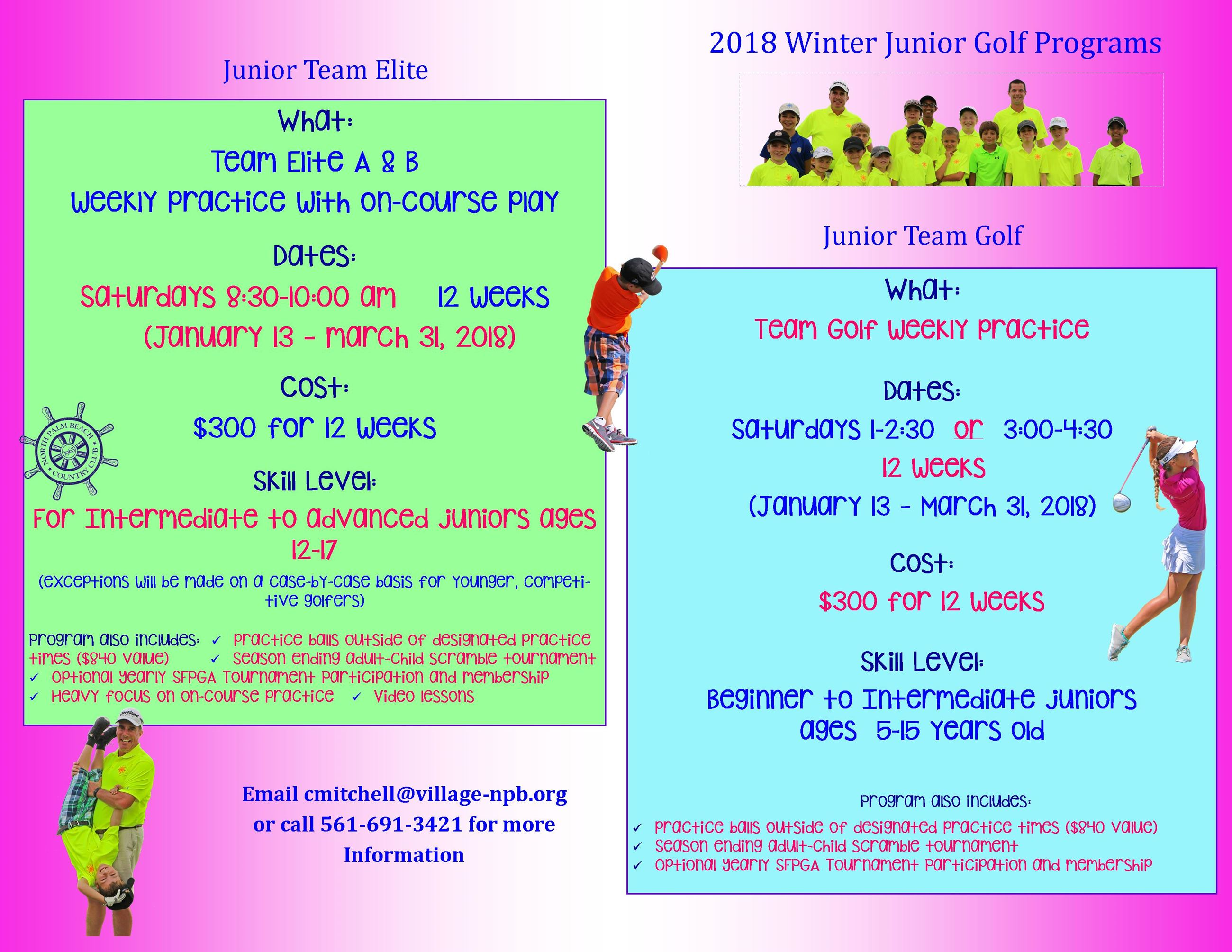 2018 Winter Junior Program Offerings- Team Golf  Team Elite (2)