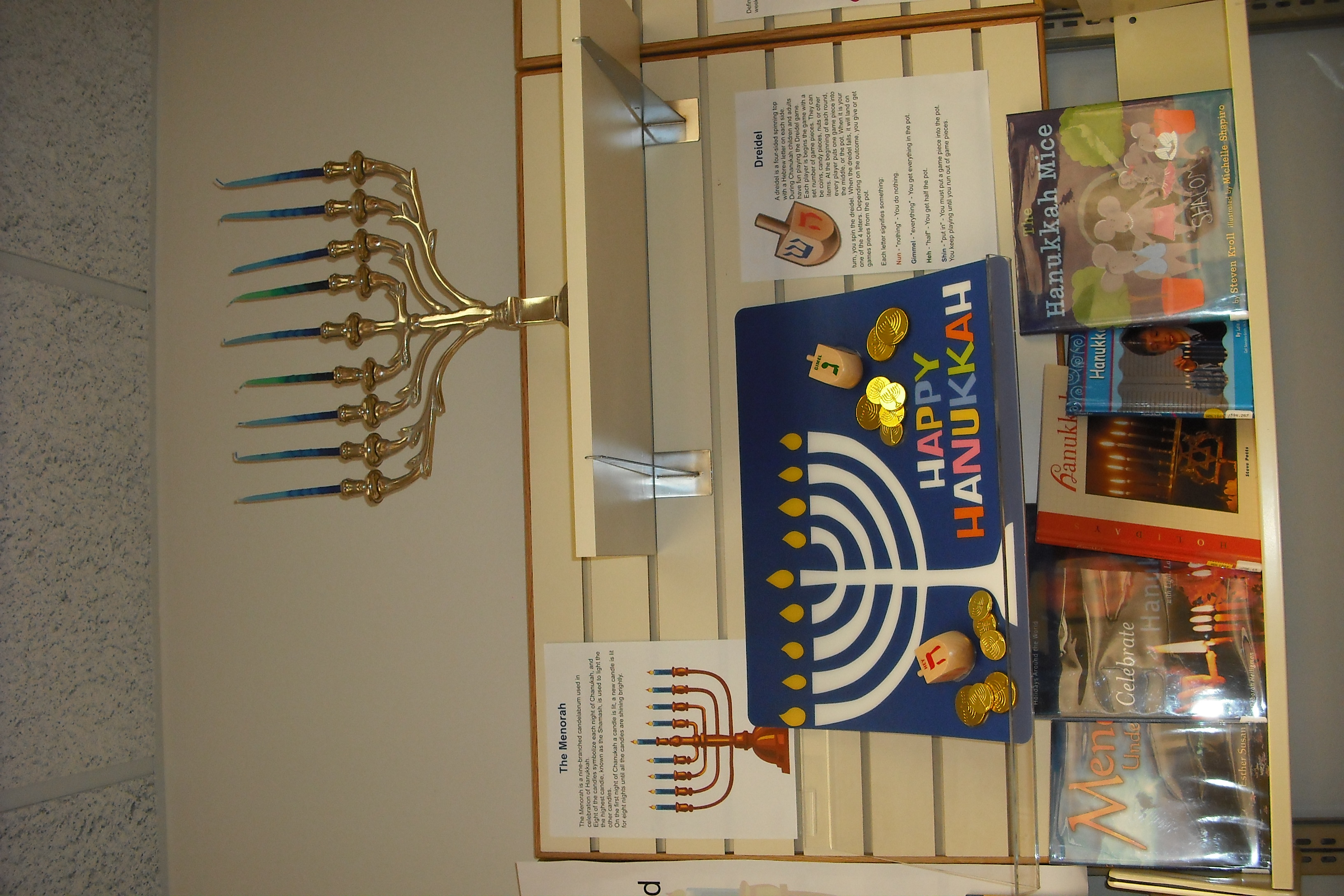 A display of the customary themes of Hanukkah