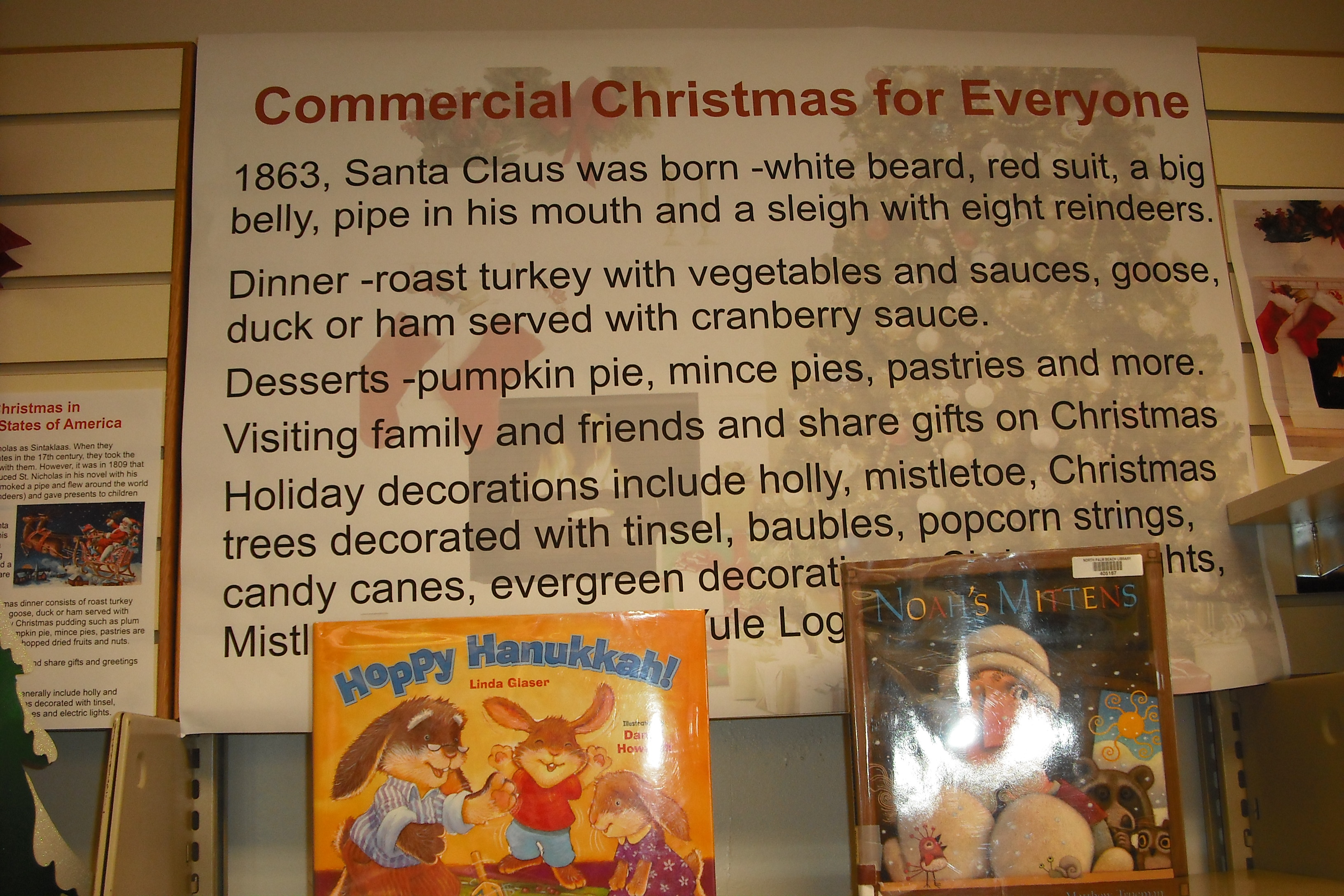 A poster with information describing the commercial Christmas holiday