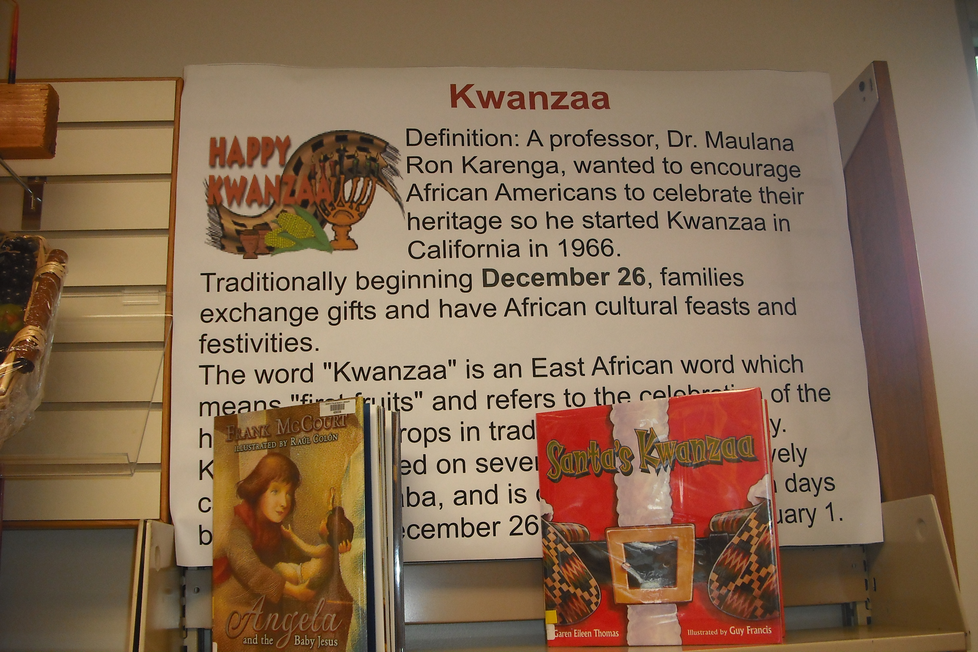 A poster with information about Kwanzaa