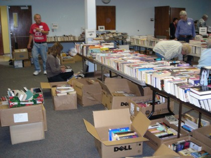 Volunteers are working to help setup the book sale