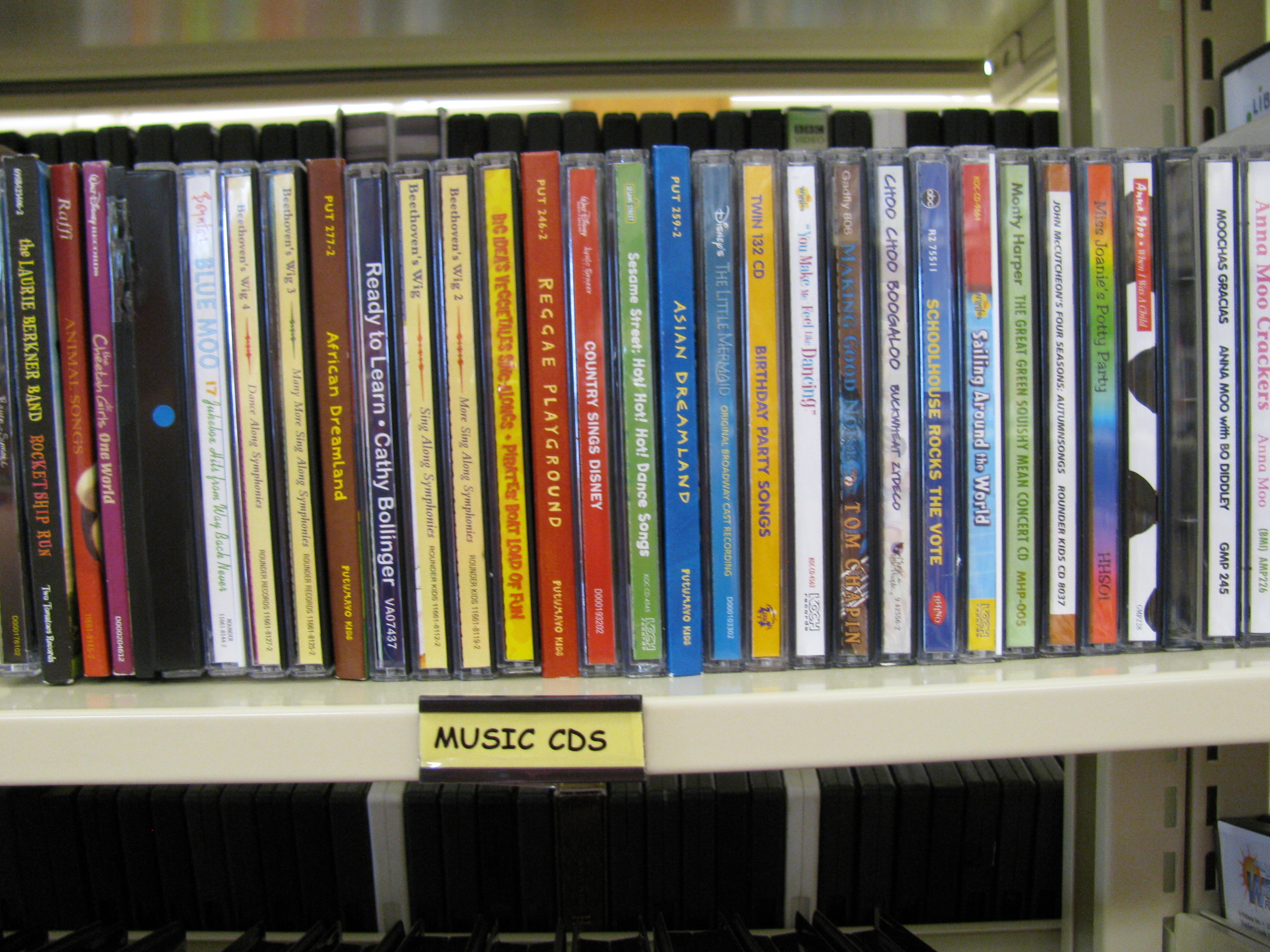 Shelf of music CDs