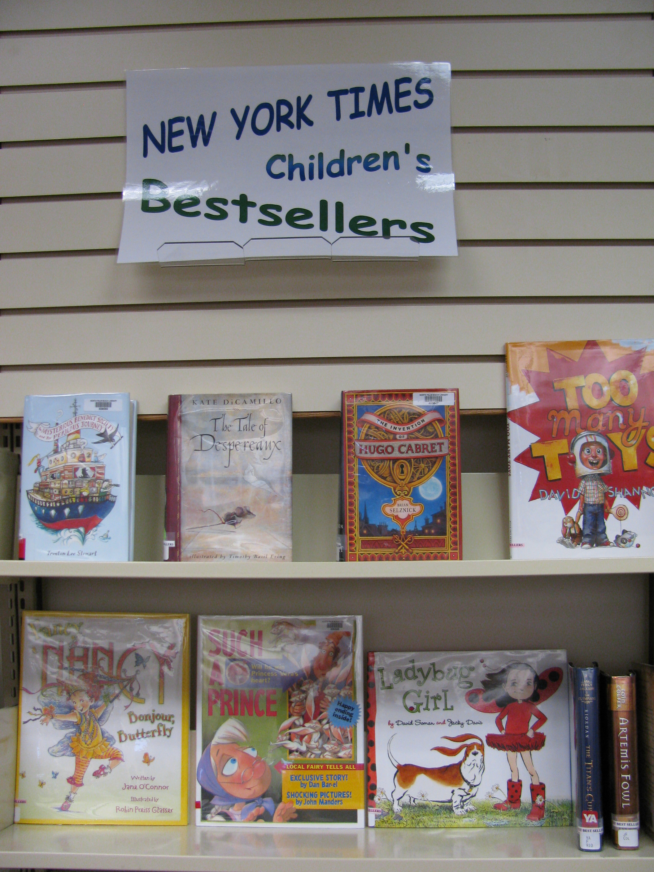 Shelf of New York Times children's bestsellers books