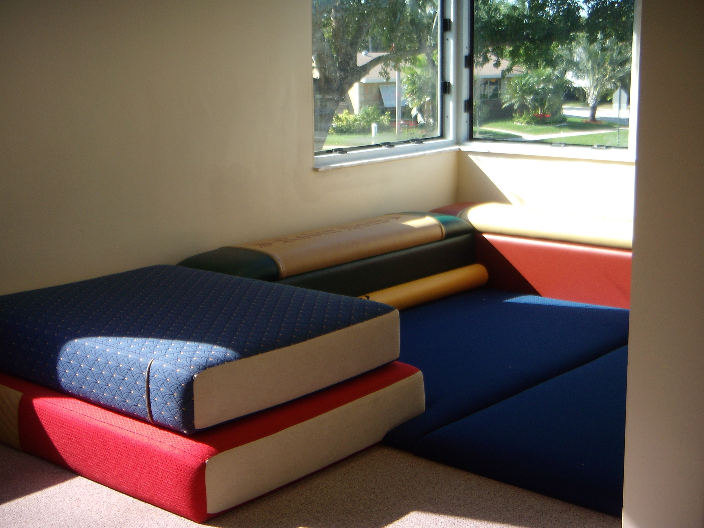 Red, blue book furniture with blue mat