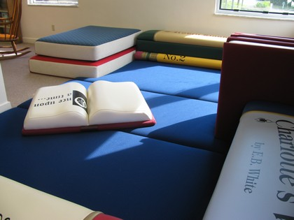 Blue mat with book furniture on it