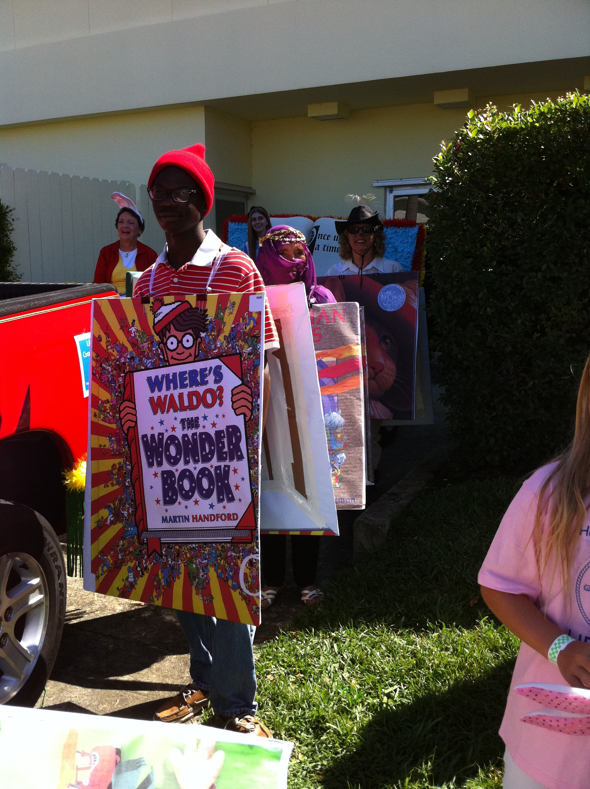 People dressed as books are ready for the parade