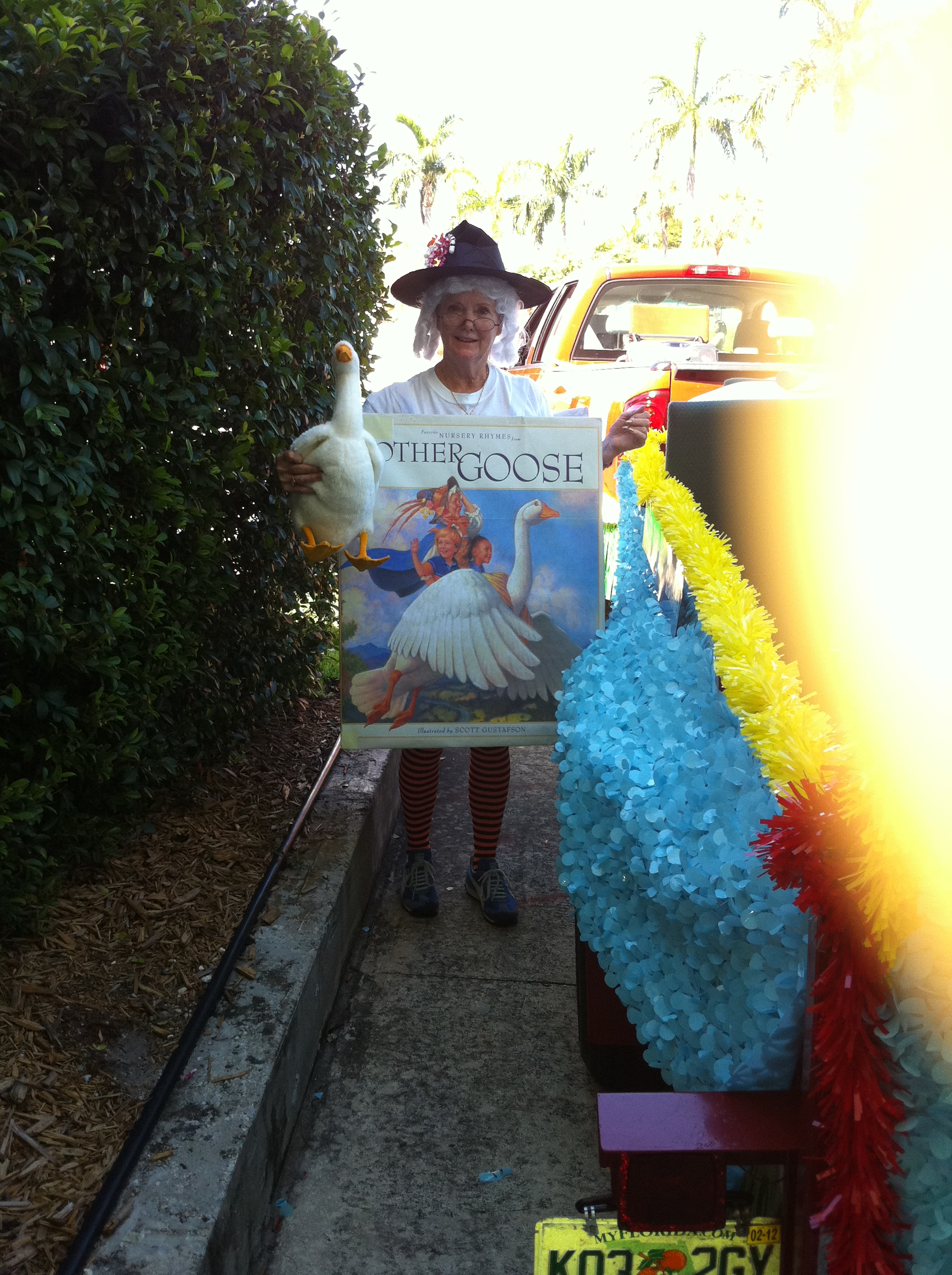 Participant dressed as a Mother Goose book holding a stuffed goose