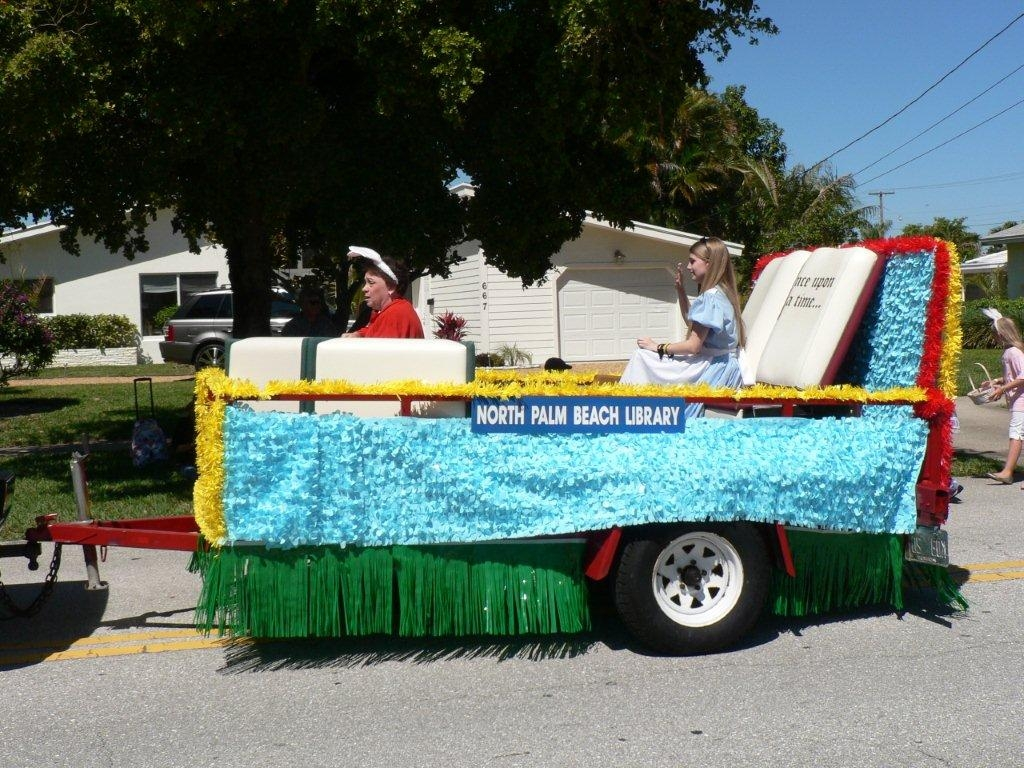The float passes a house