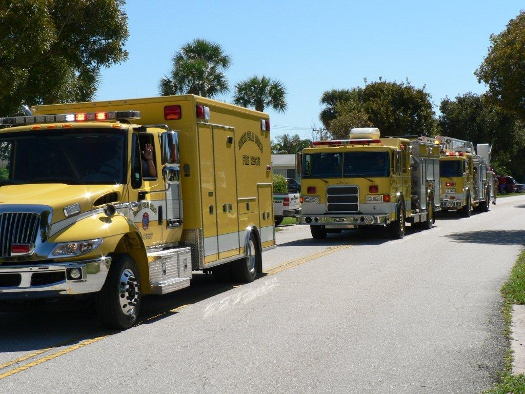 Fire Rescue vehicles participate in the parade