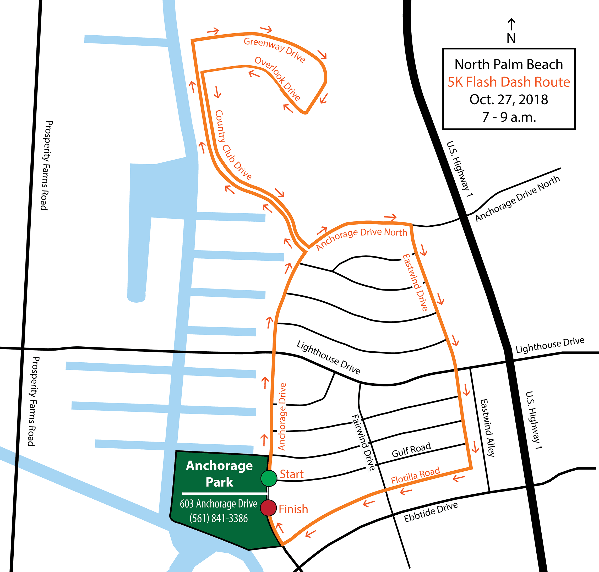 A map of the route for the 2018 Flash Dash run event through the streets of North Palm Beach.
