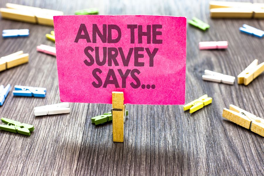 Image of a pink Post-It note in a paperclip with the words &#34And the Survey Says&#34 on it