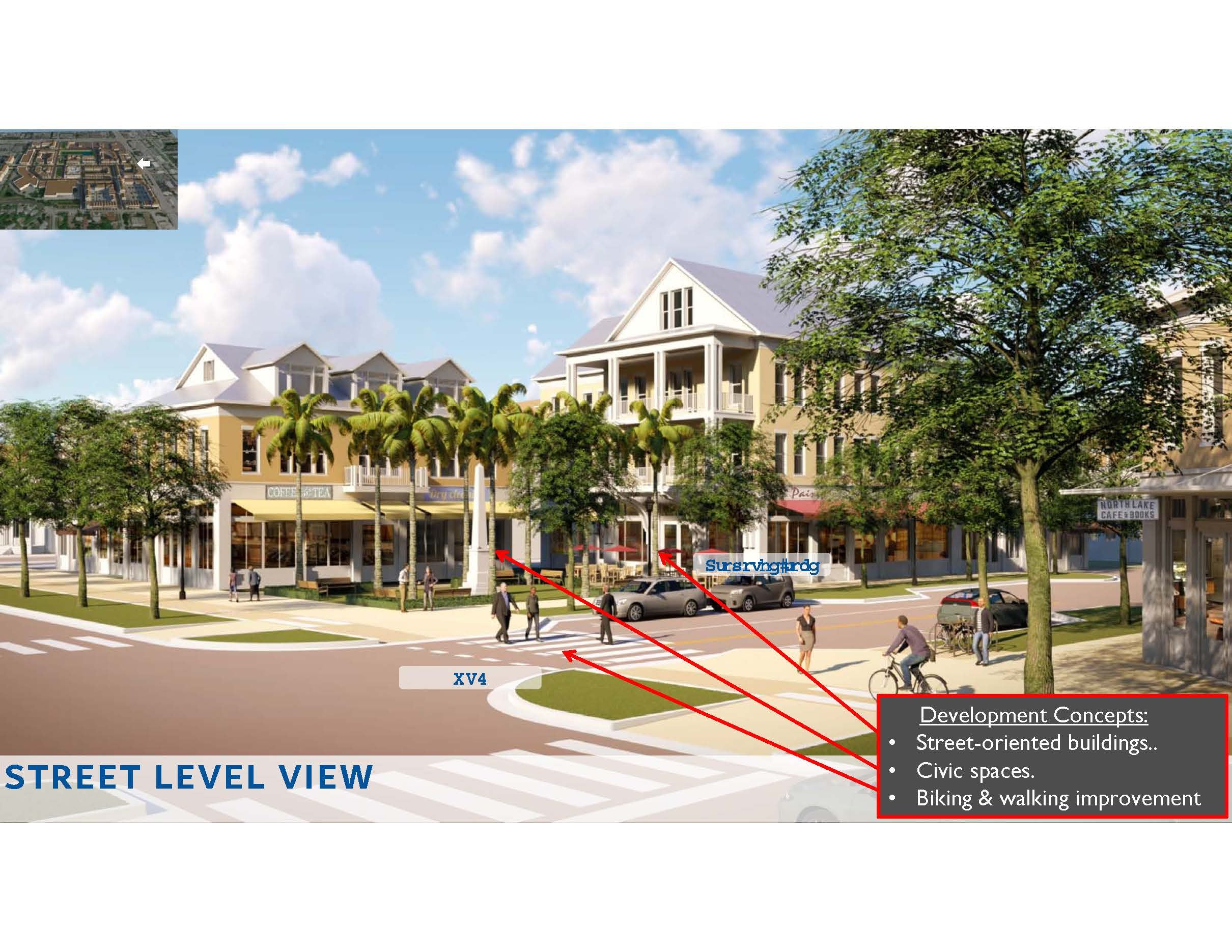 Image of artist rendering of street view of future development