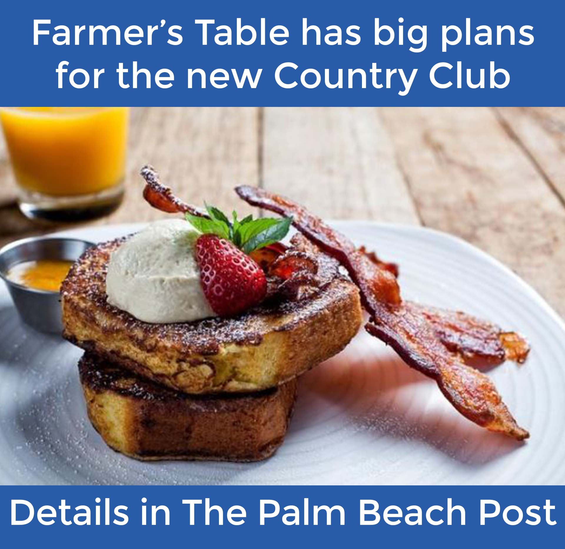 Image of almond milk-bread french toast, strawberries and bacon on a white plate. Glass of orange ju