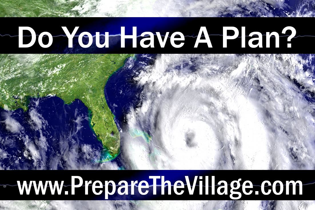 Image of hurricane approaching Florida with overlay text ask Do You Have A Plan? and the web page w
