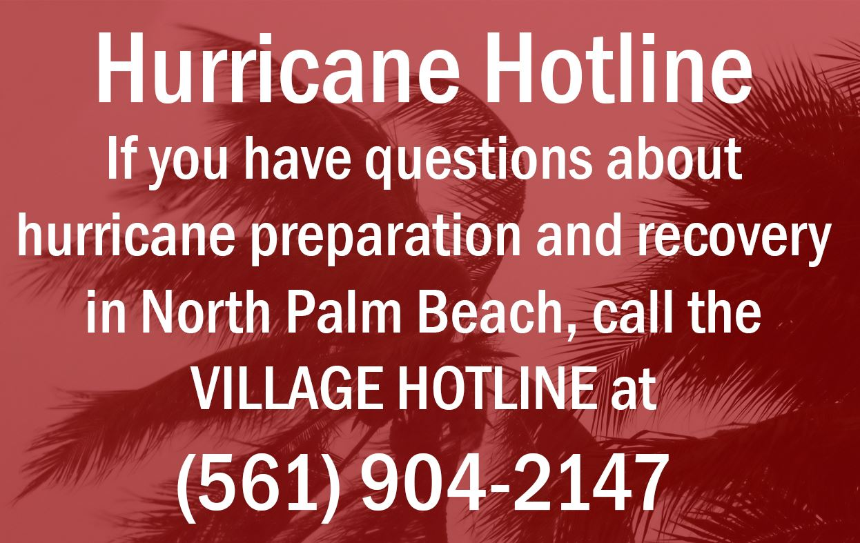 "Image of blowing trees with text saying ""Hurricane Hotline. If you have questions about hurricane"