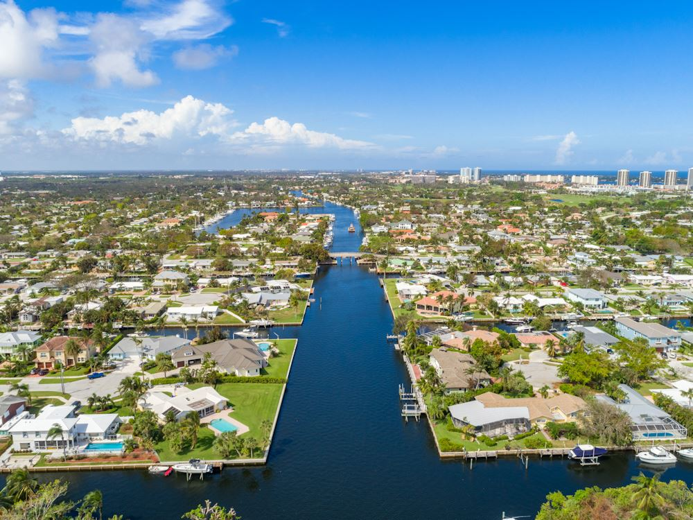 Aerial view of North Palm Beach waterway and surrounding houses