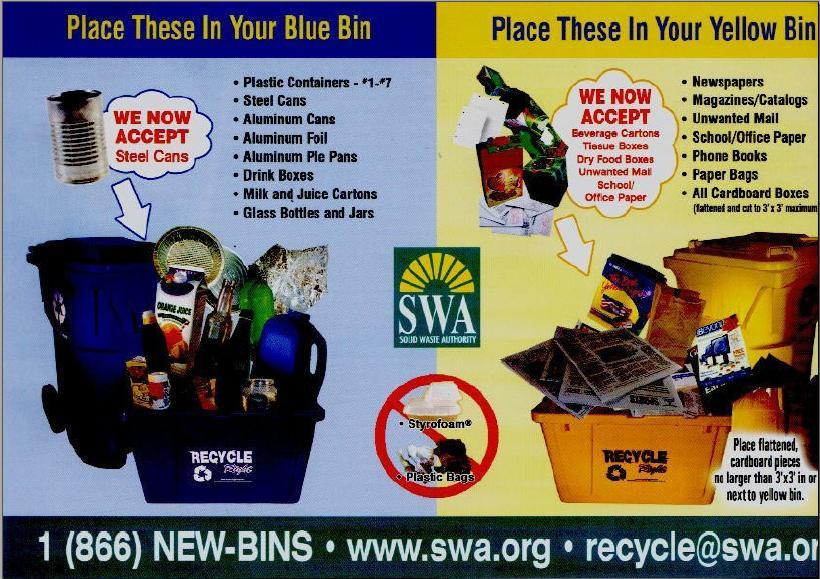 Recycling flyer with instructions about placing items in blue and yellow bins