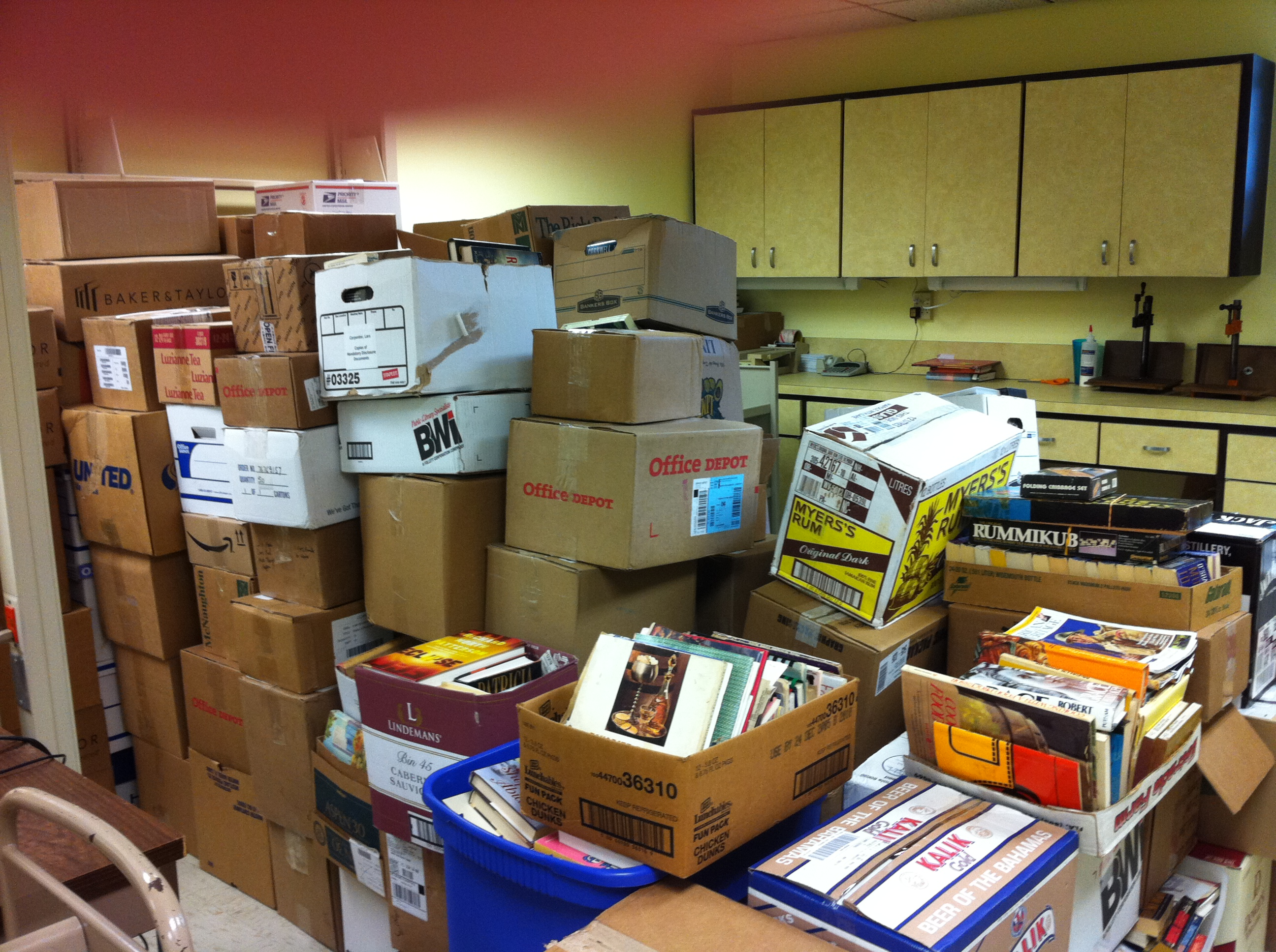 Boxes of books sit ready for sale